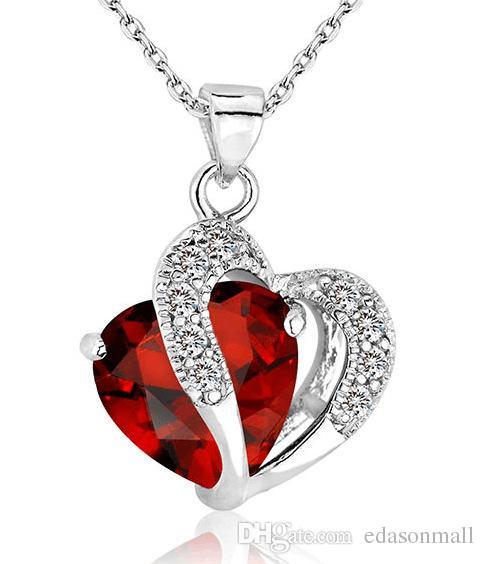 17 stile coreano stile oro argento cuore ametista ciondolo donne collane gioielli pendente di cristallo regalo di san valentino trasporto di goccia J7S