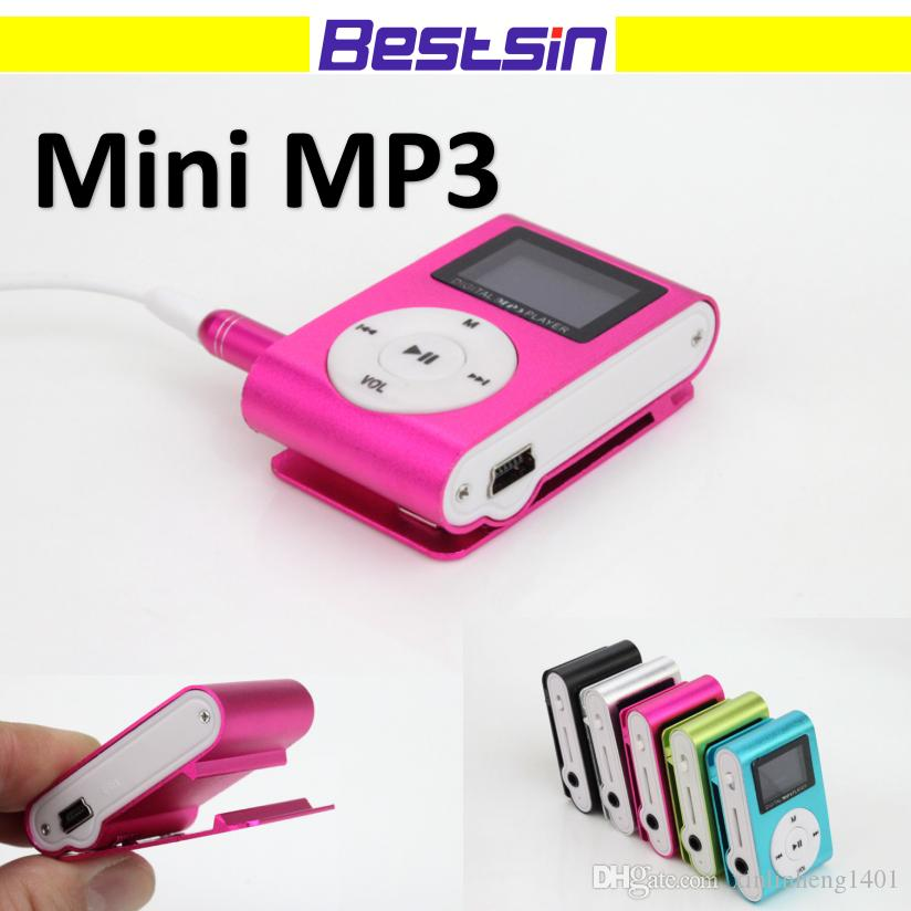 MINI Clip MP3 Player with 1.2 Inch LCD Screen Music player Support Micro SD Card TF Slot + Earphone +USB Cable with box