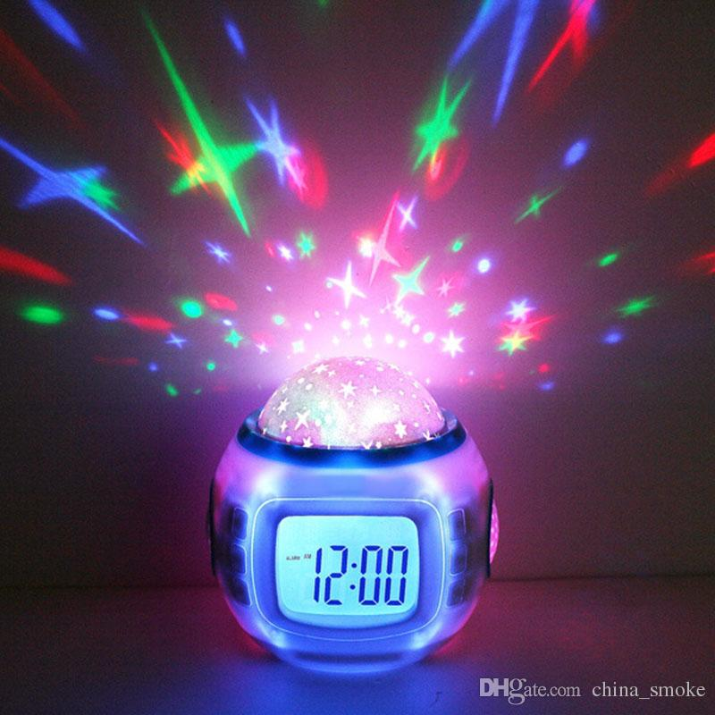 Free DHL LED Colorful Music Starry Star Sky Projection projector with Alarm Clock Calendar Thermometer Christmas 2017