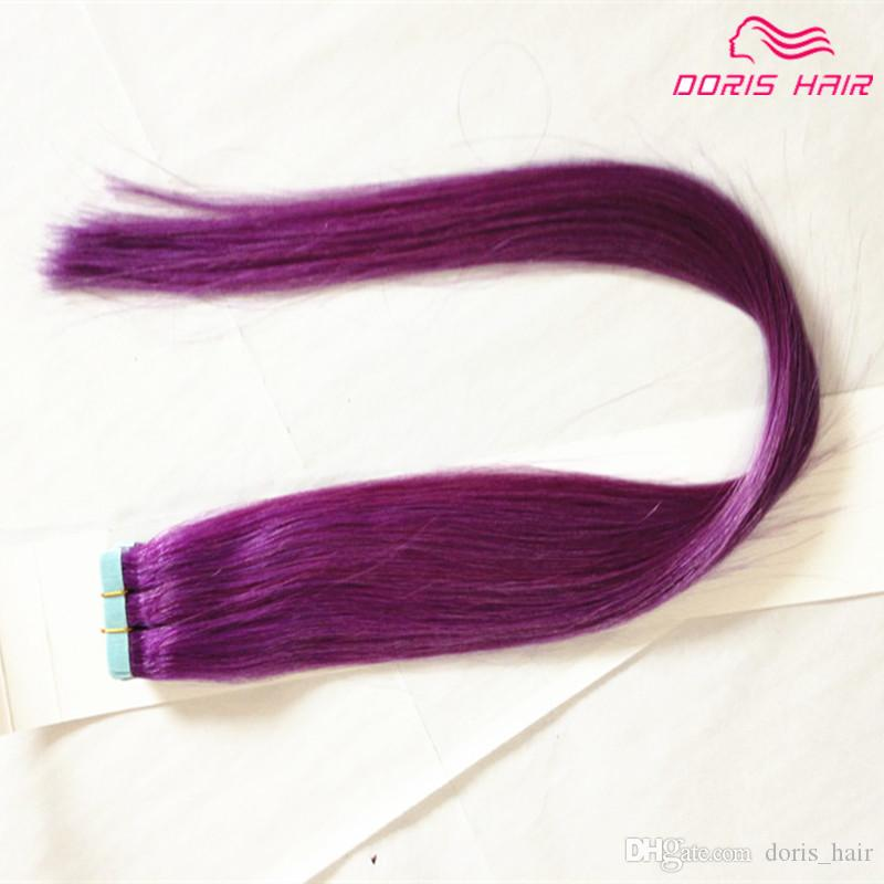 Hot selling!!! Silky Straight Tape Hair Extensions mix colors pink , Red Blue Purple Green Tape in human Hair Tape on Hair