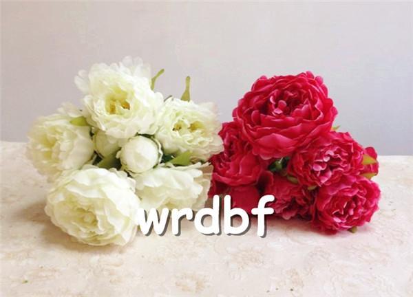 Bir İpek Şakayık Bunch 7 kafaları ev Gelin Buketi düğün odak çiçek düzenlemeleri için 45cm / 17.72