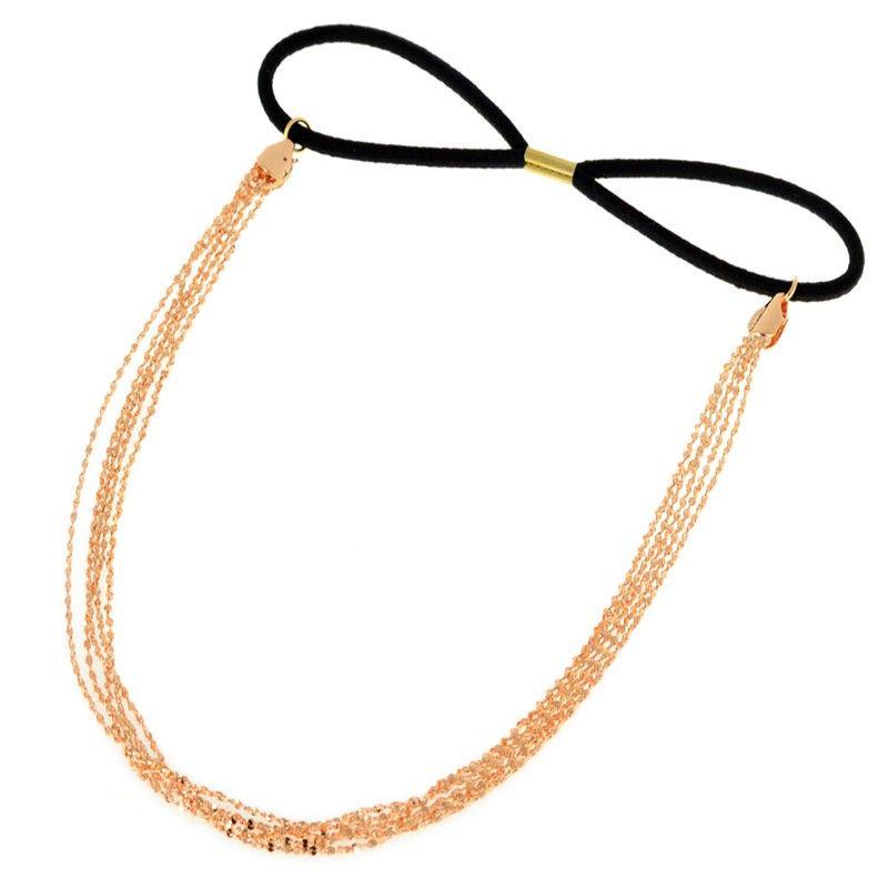 Elegante venda elástica de las mujeres de múltiples capas de la borla de la cadena de Hairbands de la joyería del aro del pelo Hairwear del tocado del pelo banda al por mayor 12 unids