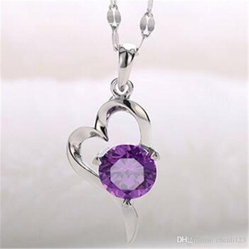 Weiß Lila Mode Halskette Für Frauen CZ Diamant Herz Anhänger Halskette Damen Geschenke Schmuck Bijoux Femme Weißes Gold Überzogen