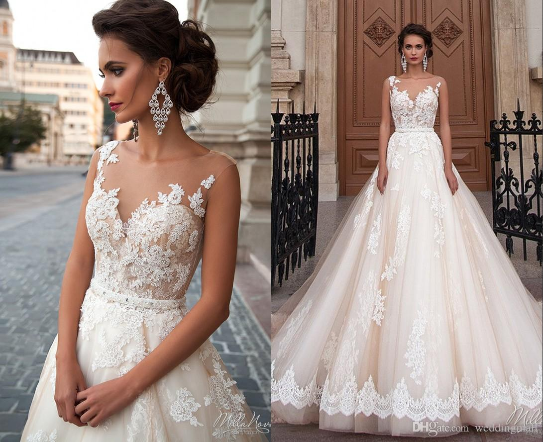 Sheer Neck Lace Millanova 2016 Wedding Dresses Sash Ball