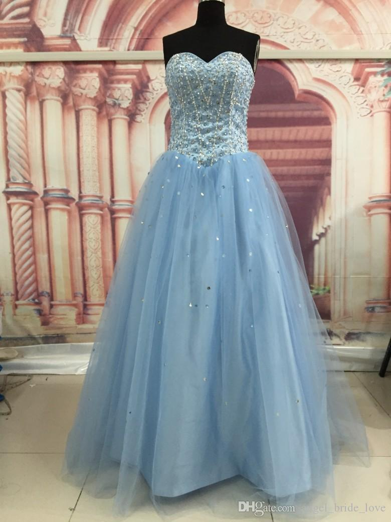 2016 New High Quality Light Sky Blue Quinceanera Dresses Ball Gown Appliques Beaded Crystal Sweet 16 Dress Prom Party Gown WD240