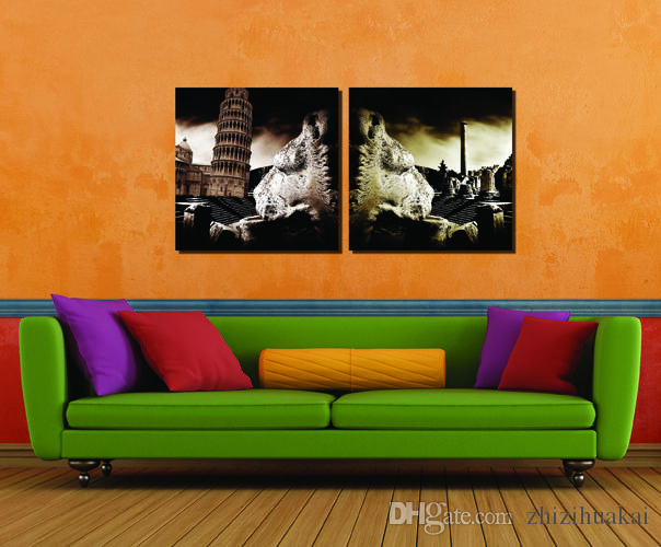 2 Pieces Free shipping Art Picture Home decoration Paint on Canvas Prints Hepburn Leaning Tower of Pisa Venice The Adriatic Sea building