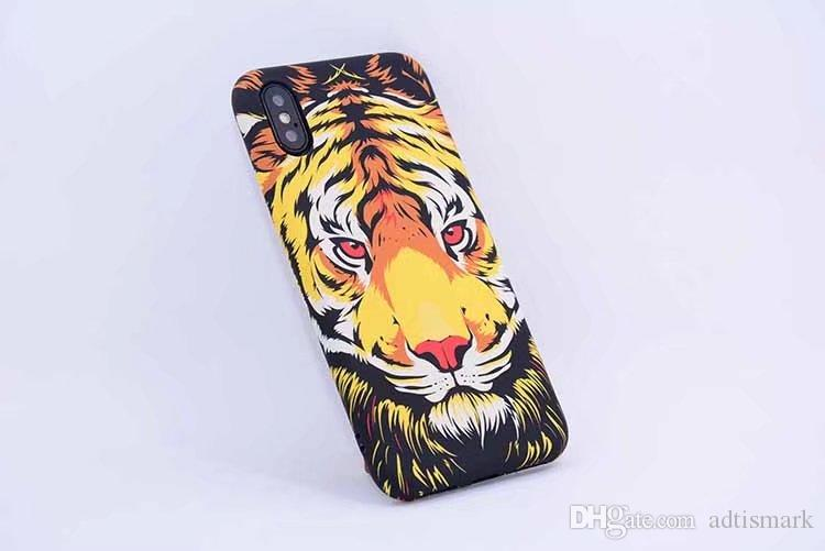 New Brand Animals Lion Wolf Owl Pattern Hard Back Phone Case For iPhone X Glow In The Dark Luminous Forest King Tpu Case