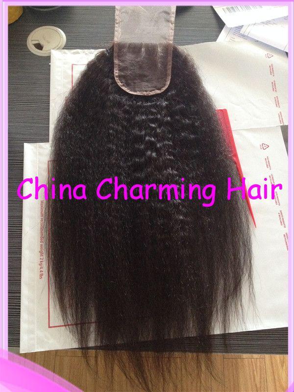 Unprocessed Afro Malysian Kinky Straight Lace Closure 4x4 Bleached Knots Coarse Yaki Lace Closure Free Part Stock Fast Ship