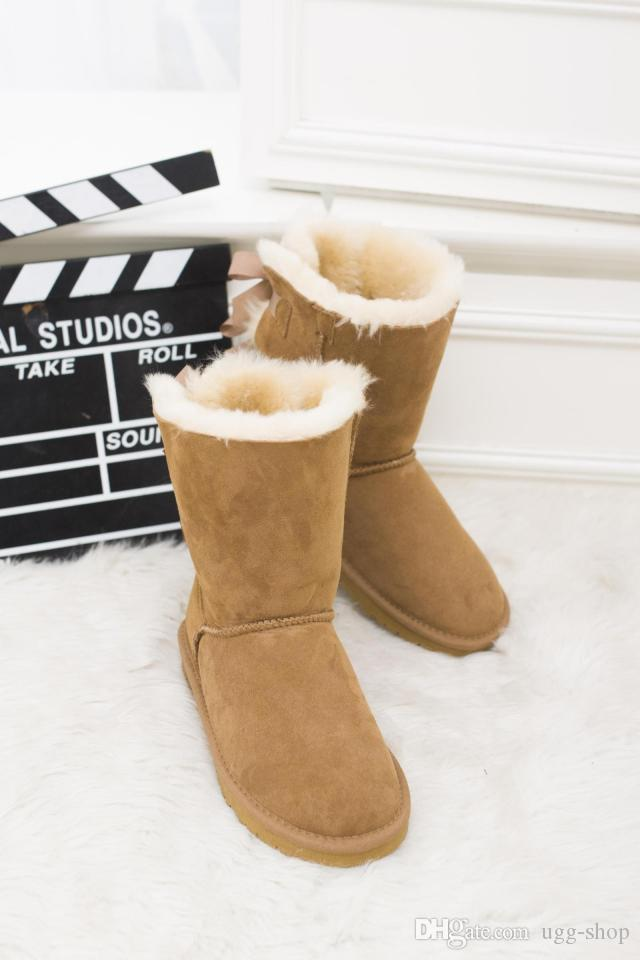 a76ce81a8 New Fashion Australia Boots Classic Tall Winter Boots Real Leather Bowknot Women'S  Snow Boots Shoes Knee High Boots Riding Boots From Ugg Shop, ...
