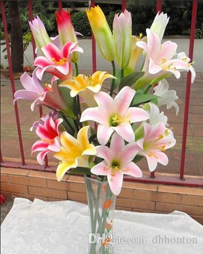 70см искусственные цветы лилии отображать цветы реальный космос экологически чистый цветок лилии для дома и сада свадебное украшение