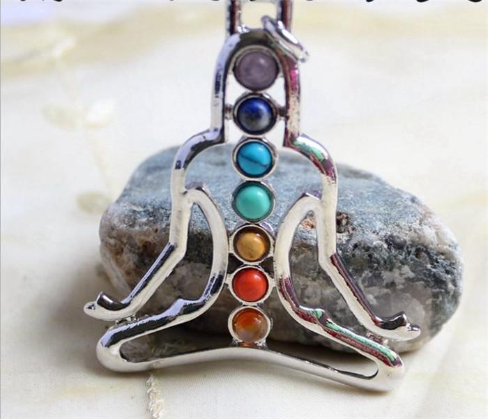 Горячий новый натуральный хрустальный драгоценный камень кулон для ожерелья вставляет камни Семь чакра религиозный сплав личности естественные украшения