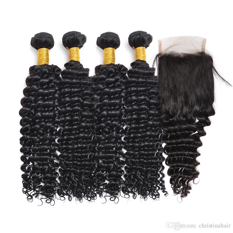 100% Unverarbeitete Jungfrau Brasilianische Peruanische Indische Malaysische Mongolische Haar Spinnt Tiefe Welle Haarverlängerungen 4 stücke Haarbündel Mit Verschluss