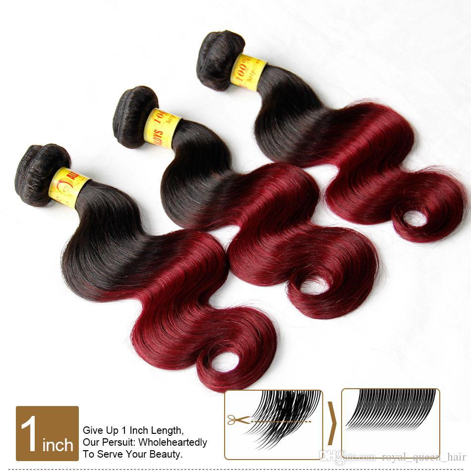 Ombre Malaysische Körperwelle Reine Menschenhaarverlängerungen 2 Zwei Ton 1B / 99J Burgund Weinrot Malaysische Remy Menschliche Haarwebart Bundles Natürliche