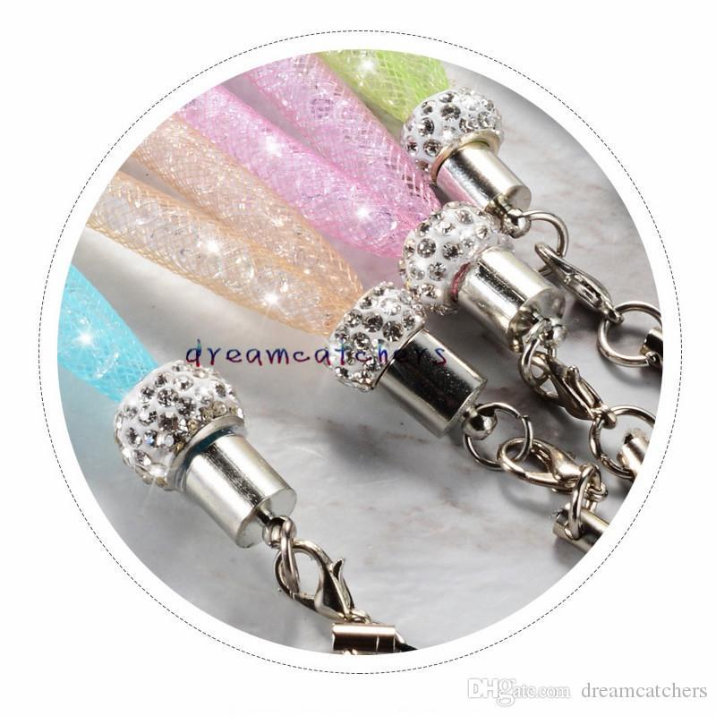 بلينغ كريستال حجر الراين الحبل الماس شنقا حبل قلادة فاخرة سلسلة الرقبة سلسلة حبال ملون لفون الهاتف المحمول بطاقة الهوية سلسلة المفاتيح
