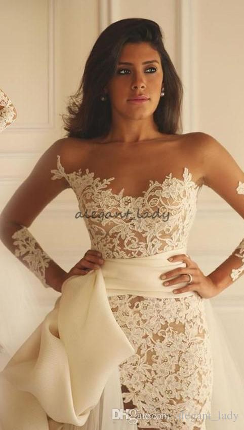 Maison Yeya Abiti da sposa in pizzo corto con treno rimovibile 2018 illusione manica lunga puro collo vacanze nuziale da sposa due pezzi abito da sposa