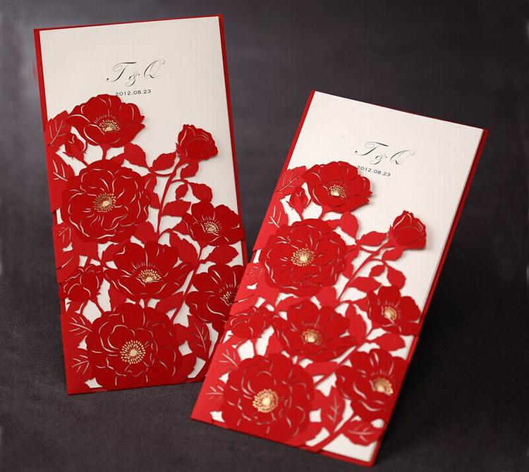 Elegant Wedding Invitation Red Elegant Handmade Laser Cut Chinese – Chinese Wedding Invitation Cards