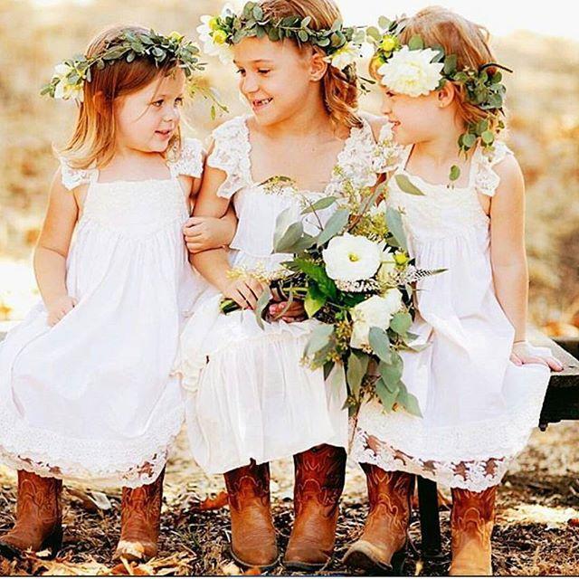 Großhandel Mädchen Hochzeit Kleider Uk Weiße Spitze Weinlese Blumen ...