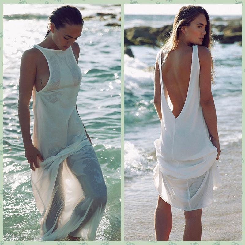 new fashion women sexy summer beach dress tunic chiffon