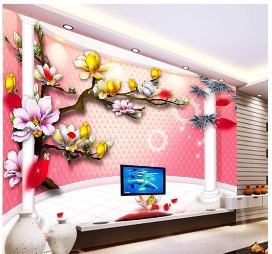 Custom 3d Mural Wallpaper European Style 3d Stereoscopic Orchid ...