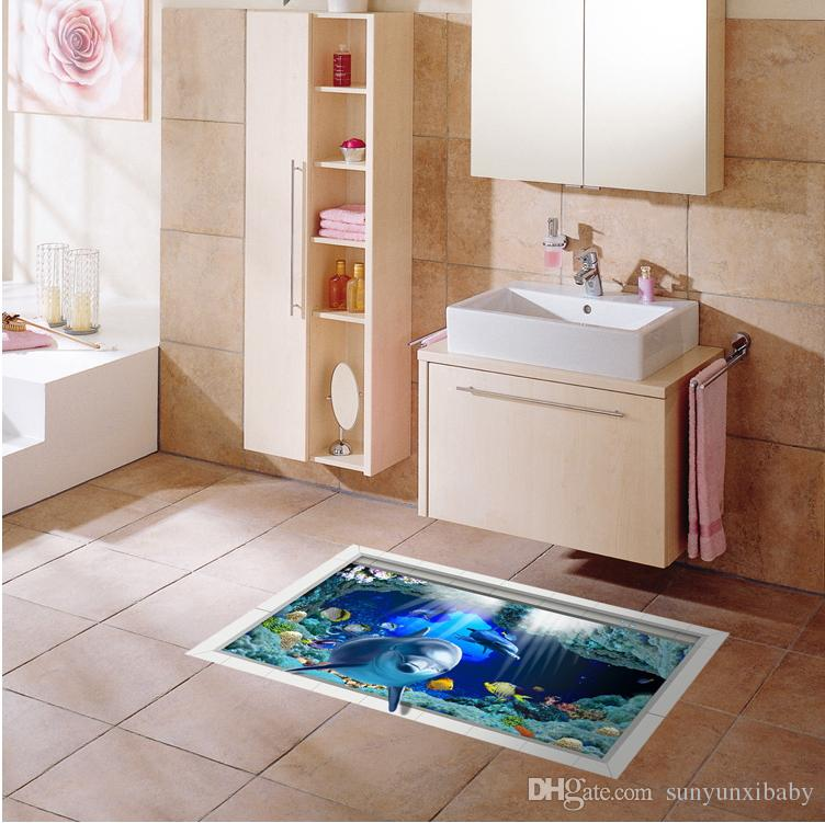 3d Dolphin Non Slip Waterproof Bathroom Floor Affixed Creative Ground  Sticker Kitchen Wear Resistant Wall Stickers Removable Wall Murals  Removable Wall ...