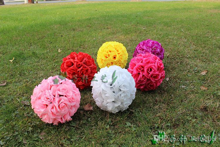 """8""""/20 CM Artificial Rose Silk Flower Kissing Balls Hanging Ball For Christmas Ornaments Wedding Party Decoration New Arrival"""