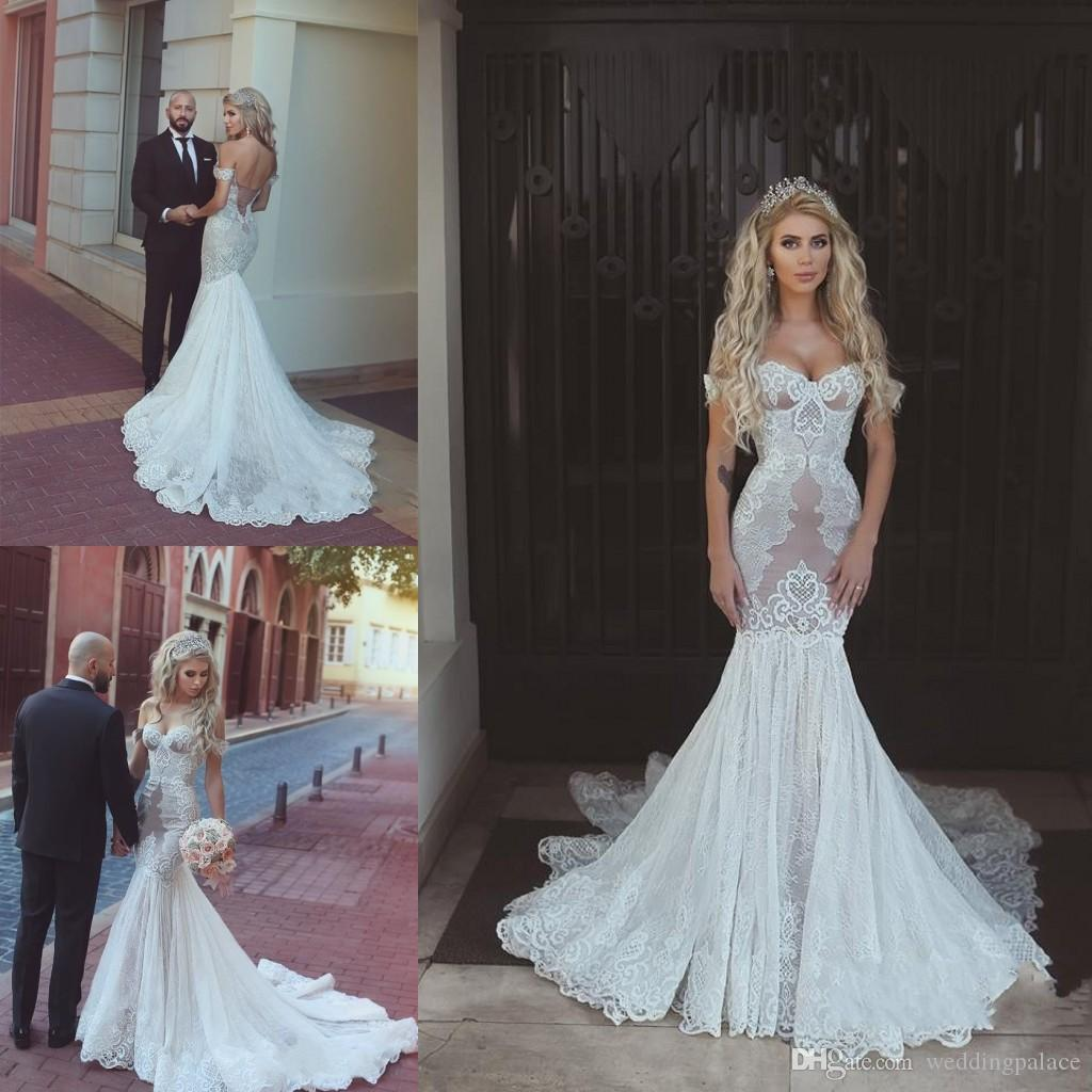 Newest Luxurious Sweetheart Mermaid Wedding Dresses Lace Up Back ...