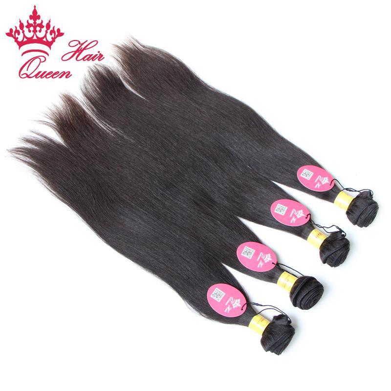 Queen-Haar-Produkte 100% unverarbeitete jungfräuliches Haar schneller Versand peruanischer Human / Gerade Haarverlängerung, Farbe # 1B 12-28