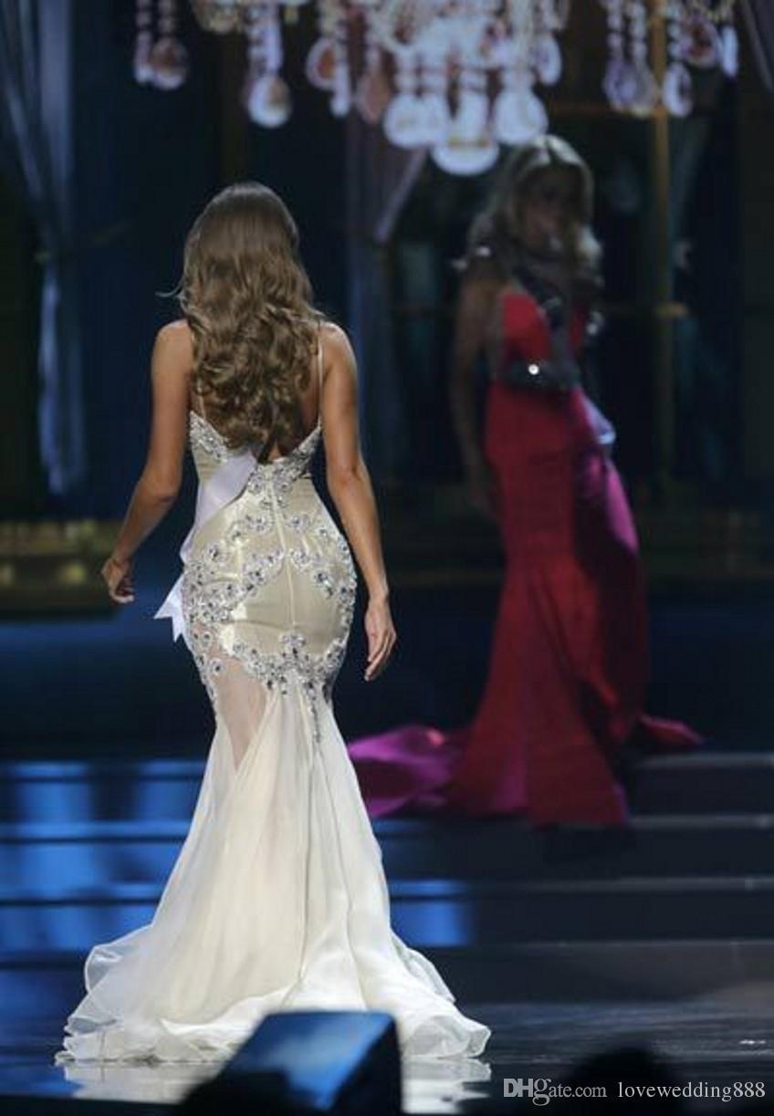 Bling Pageant Vestidos para As Mulheres Beleza Miss EUA Querida com Cintas de Strass Cristal Sexy Sem Encosto Branco Vestidos de Baile Vestidos de Noite