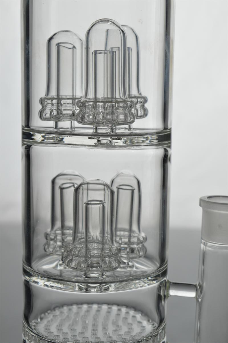 """Big Glass Bongs 14"""" inches 5mm Thick Honeycomb Percolator Water Pipes Clear Recycler Rigs Multifunction Hookahs Via EMS/DHL"""