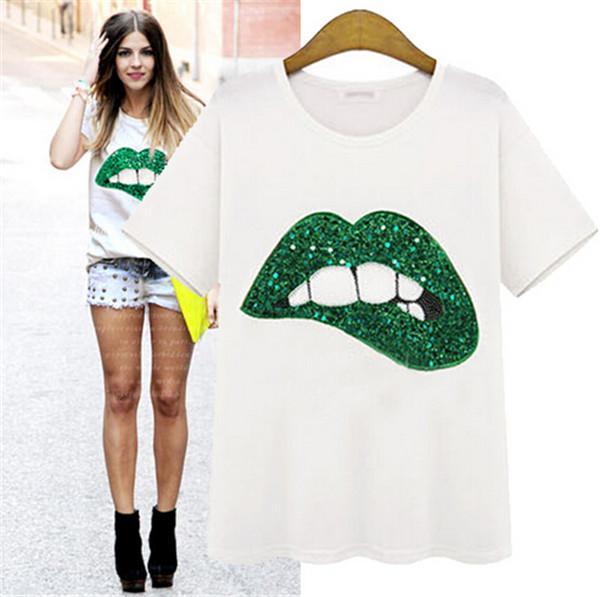 European Fashion 2015 Summer Sequin t shirts Star Street women's Dress Lips Handmade Beads Round Neck Short Sleeve Loose T-shirts