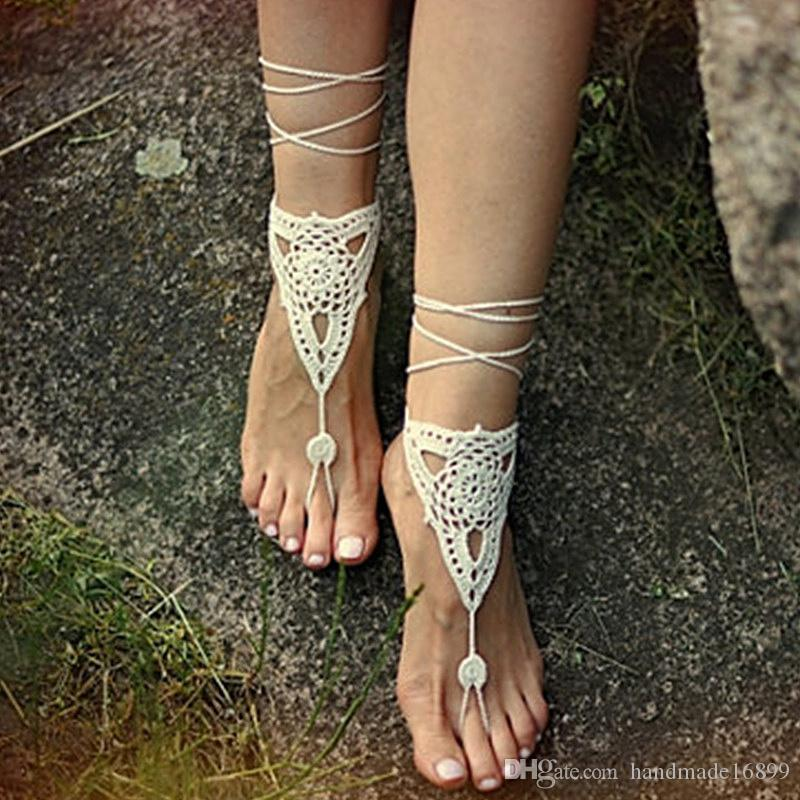1 Pair OR 2 PCS Beach wedding Ivory Crochet Barefoot Sandals Nude shoes Foot jewelry Bridal barefoot sandal Bridal lace shoes Wedding access