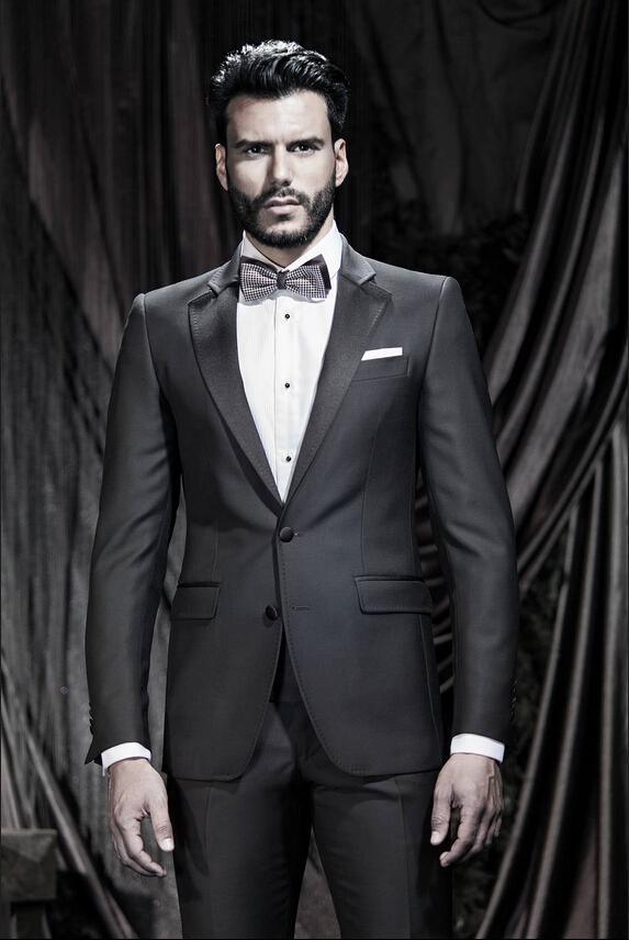Handsome Black Mens Suits Notched Lapel Mens Wedding Suits Tuxedos ...
