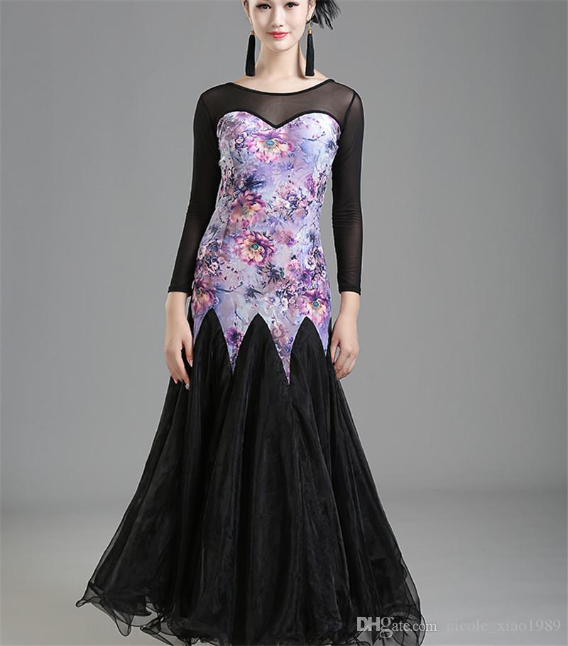 Взрослый/женщины бальные танцы платье современный Вальс стандартный конкурс танец платье сетки шить цветок печатных платье белый черный фиолетовый