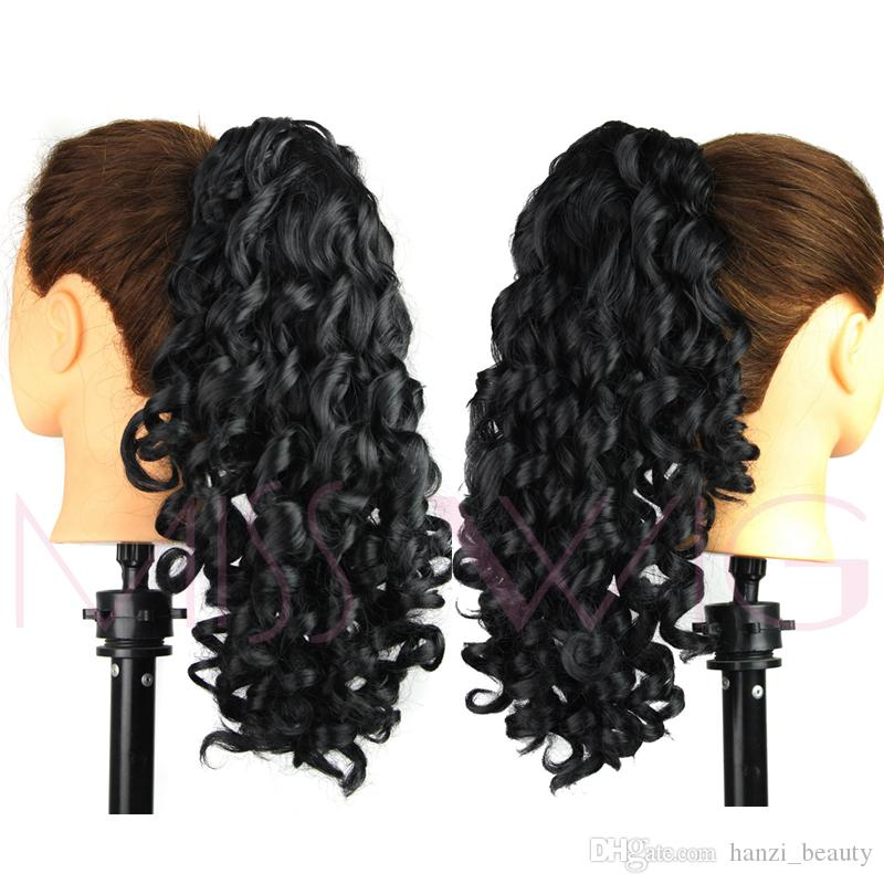 Synthetic Kinky Ponytails Available Hairpieces For American Black Women Fake Ponytail Drawstring Clip On Pony