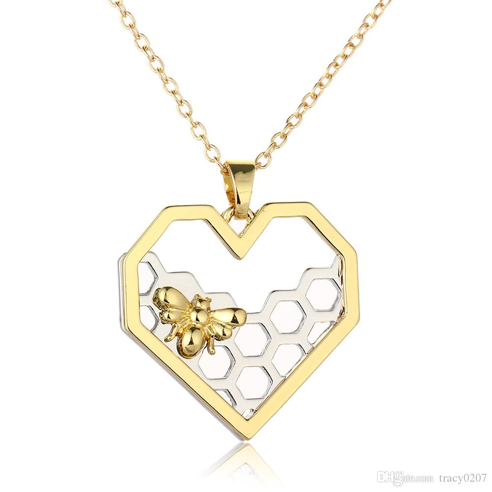Wholesale fashion jewelry heart pendants necklace dull gold color wholesale fashion jewelry heart pendants necklace dull gold color honeycomb bee pendants hollow for women nice gift gold pendants for necklaces flower mozeypictures Image collections