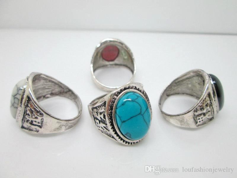 Anéis de pedras preciosas do vintage charme oval do vintage anéis de prata antigo turquesa anéis tibetanos para homens desenhos de turquesa assorted com quatro cores