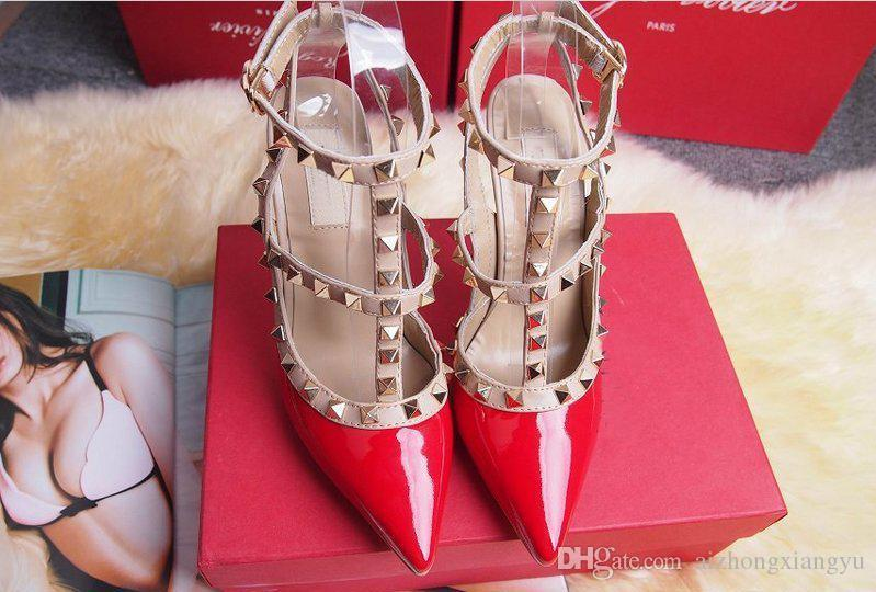 2017 Designer Women High Heels Party Fashion Rivets Girls Sexy ... c43604c8e7c