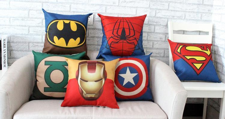 Ems Superhero Avengers Cushion Case Superman Captain America Printed  Cushion Cases Luxury Pillow Cover Home Textiles Coffee House Décor Gift  Lounge Chair ...