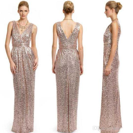 2016 Plus Size Rose Gold Sequin Bridesmaid Dresses V Neck Empire