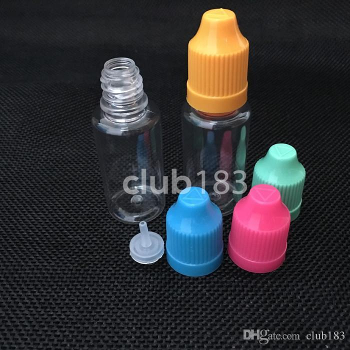 Transporte rápido garrafas por atacado alta qualidade plástica eLiquid frasco 15ml PET crianças Garrafas prova longo e fino Dicas