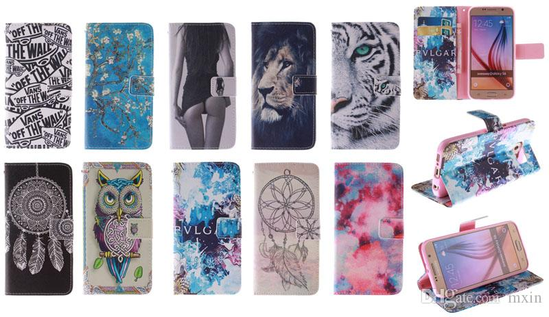 Wallet Flip Leather Flower Owl Tiger Lion Stand Case TPU Cover For Samsung Galaxy S6 Edge A5 A7 J1 Alpha Grand 2 G7106 Core Prime G360