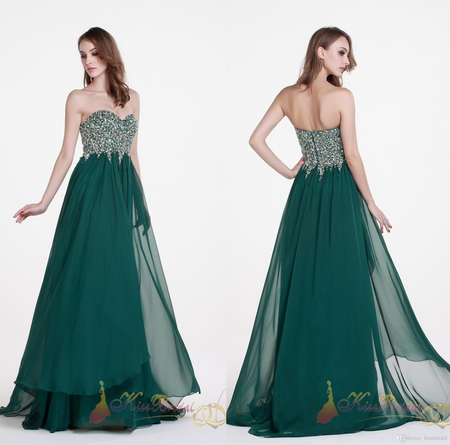 2015 Hunter Green Prom Dresses Rhinestone Beaded Sweetheart A-Line ...