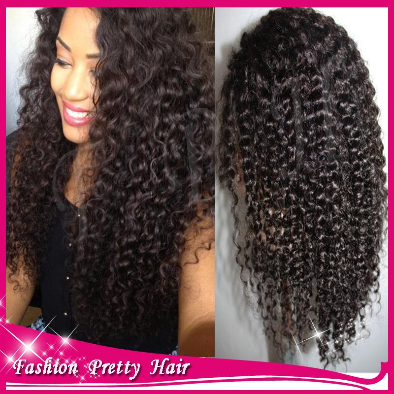 Long Black Curly Wig Mongolian Kinky Curly Virgin Wig 6a Grade Cheap