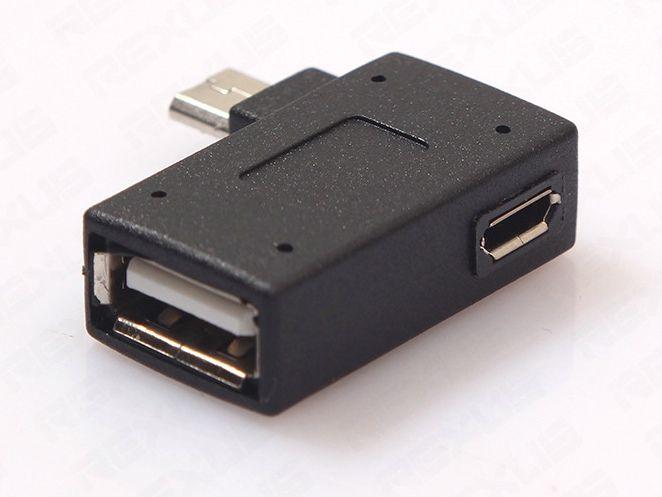Adaptateur d'hôte d'hôte de Micro USB OTG d'angle droit gauche avec le port d'alimentation de Micro USB pour le transfert intelligent de données de commande de téléphone portable et de disque dur