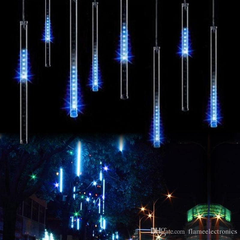 2018 christmas light snowfall tube 50cm 30cm tubepower adapter meteor shower rain amazing led tube string xmas lights decoration tree from flameelectronics