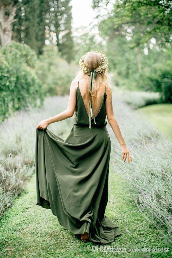 Bohemian Olive Green Chiffon Country Bridesmaid Dresses New Cheap Sexy Spaghetti Backless Long Maid Of Honor Gowns Custom prom dresses