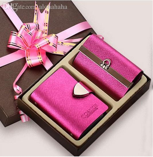 Wholesale-Top-grade Gift Sets Fashion Elegant Christmas Gifts Women\'s Cowhide Leather Credit&ID Holders Card Bag+Key Holder