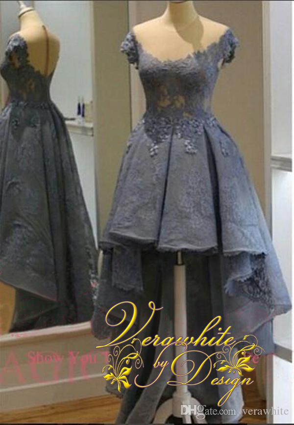 Gorgeous Dark Gray Evening Prom Gowns Short Sleeve Formal Party Dresses 2016 Occasion Dress A-Line Sheer Neck Hi-Lo Celebrity Arabic Dubai