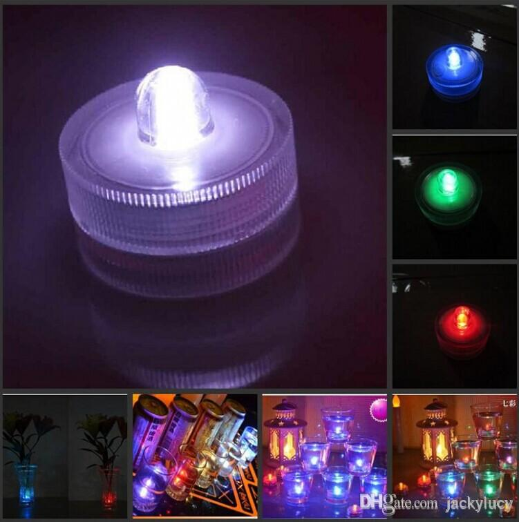 Waterproof White LED Submersible Candles Lamp Fish Tank Vase Decor Night Light For Birthday Halloween Christmas Wedding Party Decoration