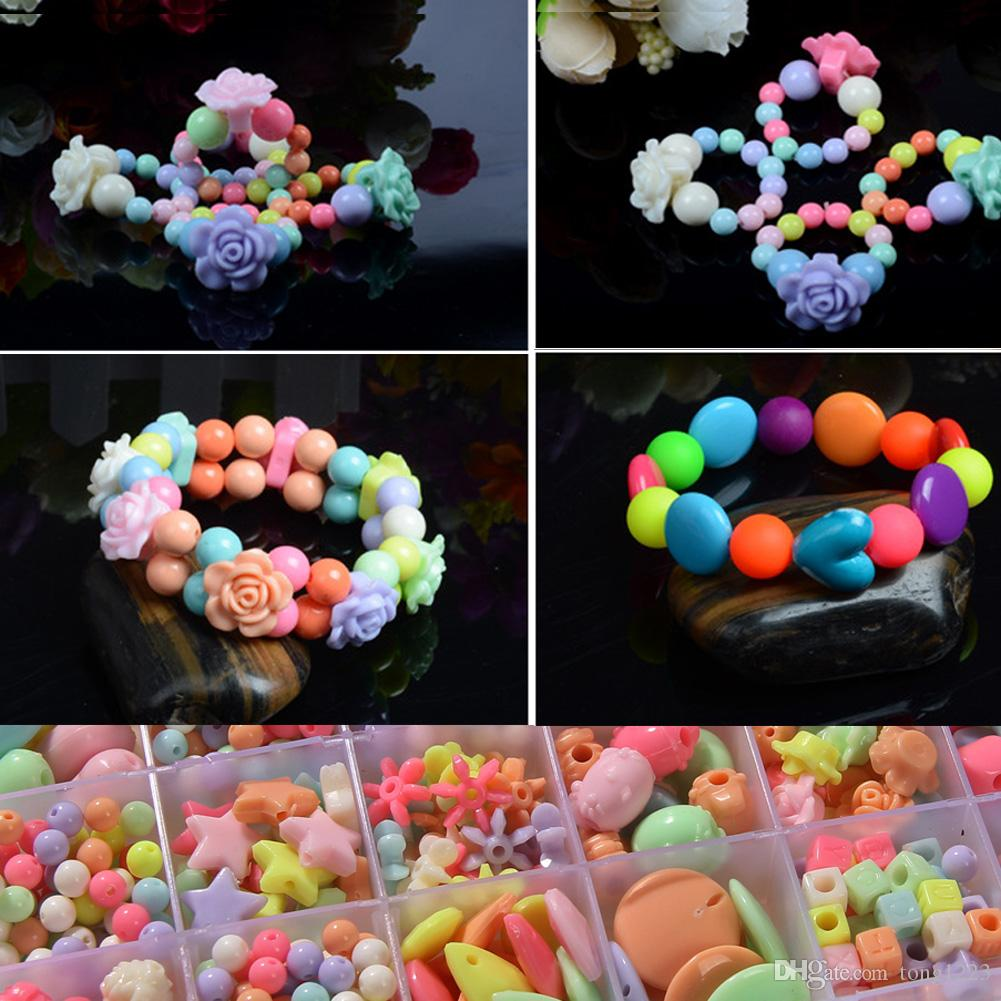 Assorted Plastic Acrylic Bead Kit Accessories DIY Bracelects Toys Jewelry Making Kids Beads Set Creative Gifts for children